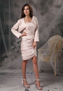 Strapless Short Mother Groom Dress Ivory with Jacket