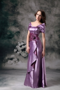 Off The Shoulder Lavender Mother of bride Dress Handle Flowers