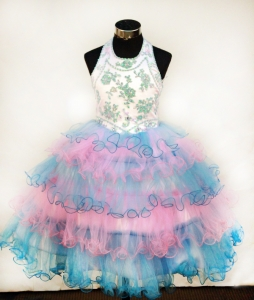 Colorful Ruffled Layers Lil Girl Dress Halter Appliques Organza