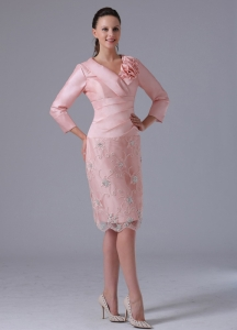 Long Sleeves Mothers Dress Baby Pink Hand Made Flowers