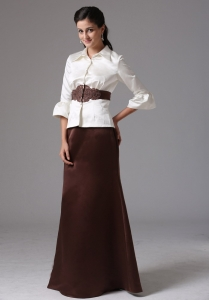 High-neck Long Sleeves Mother of the Bride Dress With Belt