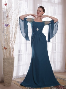 Square Chiffon Mother of the Bride Dress Navy Blue Sweep