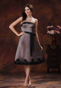 Mother Of The Bride Dress Brown Dress Black Sash Strapless