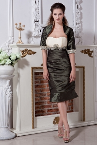 Mothers Dress Olive Green Knee-length Taffeta Hand Made Flowers