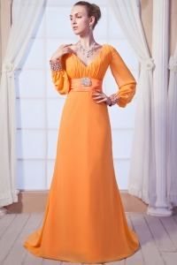 Orange Brush Train Mother of the bride Dress Long Sleeves