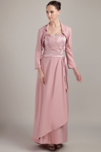 Wide Straps Pink Mothers Dress Elastic Woven Satin Jacket