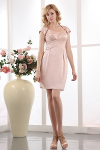 Taffeta Pink Mother of the Bride Dress Mini-length Beading Straps