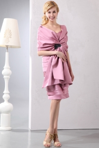 Taffeta Baby Pink Moms Dress Sweetheart Ruched Knee-length