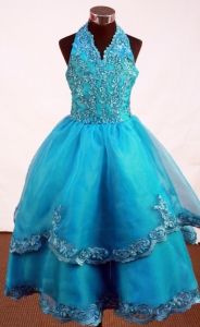 Turquoise Little Girl Pageant Dress Halter Top Appliques A-line