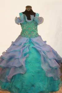 Organza Straps Little Girl Pageant Dress Beading Ball Gown