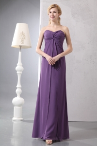 Chiffon Purple Dress For Mothers Sweetheart Ruch Ankle-length