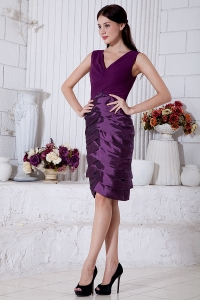 V-neck Dark Purple Mothers Dress Knee-length Taffeta