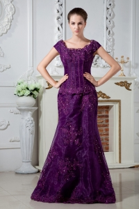 Mermaid Scoop Dark Purple Appliques and Beading Mothers Dress