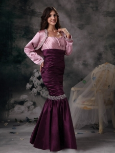 Mermaid Purple and Rose Pink Dress for Moms Beading Jacket