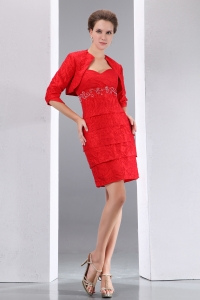 Red Sweetheart Mother of Bride Dress Short Beading Jacket