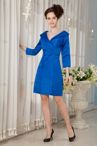 V-neck Long Sleeves Moms Dress Royal Blue Mini-length