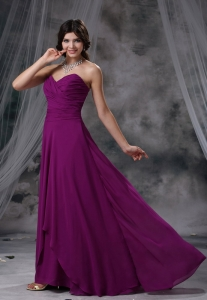 Chiffon Ruched Purple Bridesmaid dress Sweetheart Empire