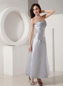 Ruched Beaded Dress for Mothers Silver Sweetheart Ankle-length