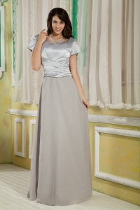 Silver Chiffon and Satin Mother Of The Bride Dress Ruched Scoop