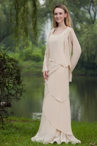 Chiffon Champagne Mother of the Bride Dress Column Square