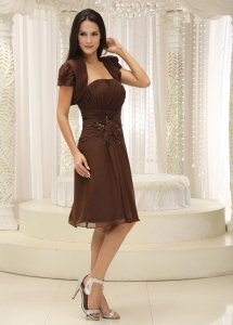 Strapless Brown Ruched Dress for Mothers Handle Flowers Jacket