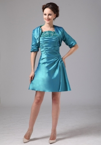 Mother of the Bride Dress Teal Ruched With Jacket Mini-length