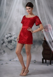 Wine Red Short Sleeves Mother of the bride Dress with Sash