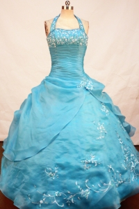 Halter Turquoise Ball Gown Little Girl Pageant Dress Appliques