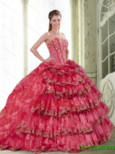 2015 Classical Coral Red Dress for Quinceanera with Pick Ups and Ruffled Layers