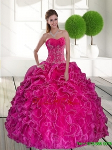 2015 Comfortable Hot Pink Quinceanera Gown with Ruffles and Appliques