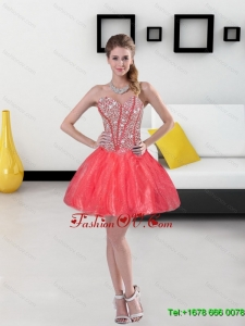 2015 Remarkable Beading Mini Length Prom Dresses in Coral Red