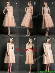 Best Selling Sashed Peach Bridesmaid Dress in Knee Length