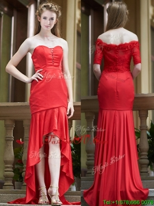 Cheap Column High Low Red Bridesmaid Dress with Brush Train