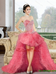 Classical 2015 Appliques and Ruffles Prom Dress in Watermelon