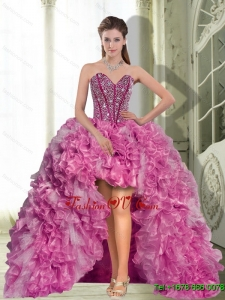 Dynamic High Low Beading and Ruffles 2015 Dress for Prom Party