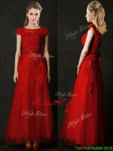 Elegant Empire Applique Red Bridesmaid Dress with Cap Sleeves