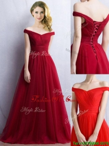 Elegant Off the Shoulder Cap Sleeves Bridesmaid Dress in Wine Red