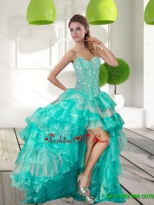Fashionable Beading and Ruffled Layers High Low Prom Gowns for 2015