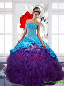 Free and Easy Sweetheart Ruffles Quinceanera Dresses with Appliques and Pick Ups