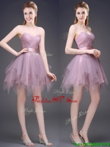 Hot Sale Lavender Short Bridesmaid Dress with Ruffles and Belt