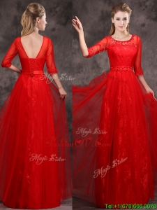 Latest Applique and Beaded Red Bridesmaid Dress in Tulle and Lace