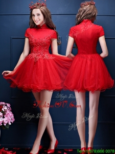 Luxurious High Neck Short Sleeves Bridesmaid Dress with Appliques and Beading