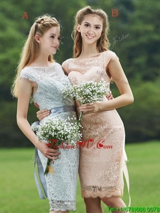 Luxurious See Through Scoop Cap Sleeves Bridesmaid Dress with Sashes