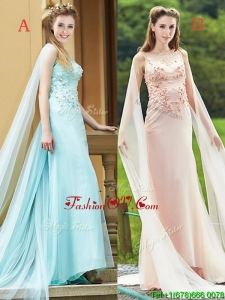 Modern Bateau Applique Decorated Bodice Bridesmaid Dress with Watteau Train