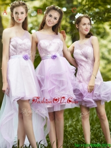 New Style Laced Lavender Tulle Bridesmaid Dress For Summer