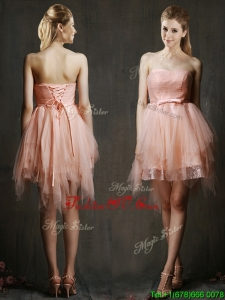 Popular Belted and Ruffled Short Bridesmaid Dress in Watermelon Red