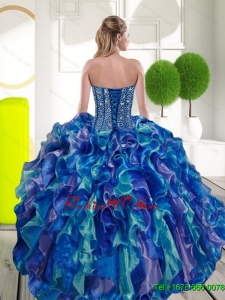 Remarkable Beading and Ruffles Sweetheart 2015 Quinceanera Dresses in Multi Color