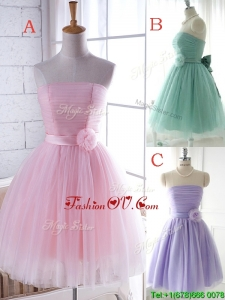 Unique Strapless Tulle Short Bridesmaid Dress with Handcrafted Flower