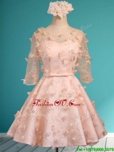 Wonderful Applique and Belted Scoop Short Bridesmaid Dress in Peach