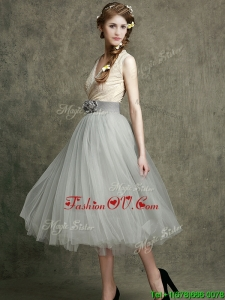 Wonderful Hand Made Flowers and Belted Bridesmaid Dresses with Tea Length